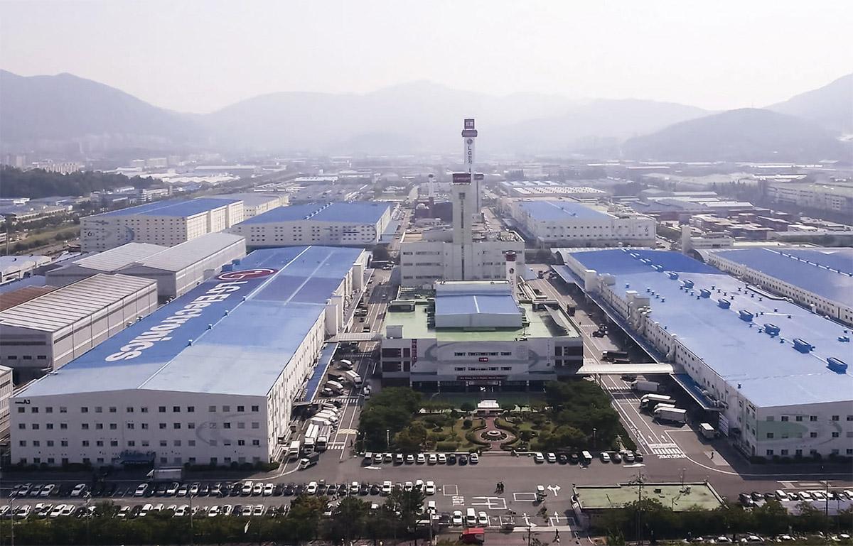 vue arienne usine LG de Busan