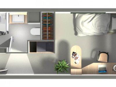 plan chambre d'étudiant